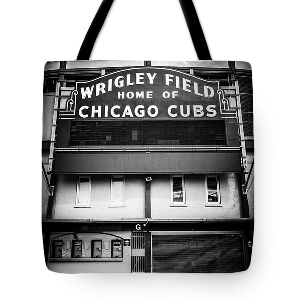 Wrigley Field Chicago Cubs Sign In Black And White Tote Bag by Paul Velgos