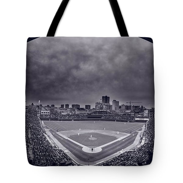 Wrigley Field Night Game Chicago Bw Tote Bag