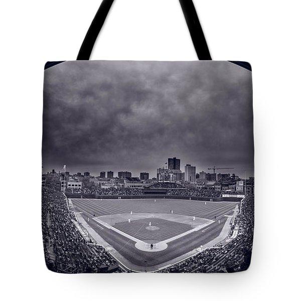 Wrigley Field Night Game Chicago Bw Tote Bag by Steve Gadomski