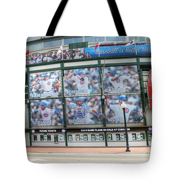 Wrigley Field On Clark Tote Bag by David Bearden