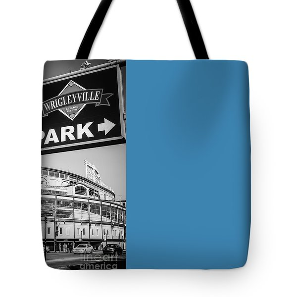 Wrigleyville Sign And Wrigley Field In Black And White Tote Bag by Paul Velgos