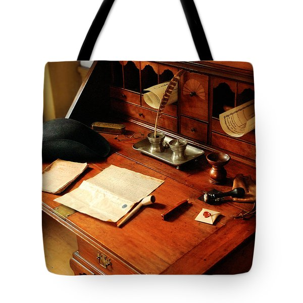 Writer - The Desk Of A Gentleman  Tote Bag by Mike Savad