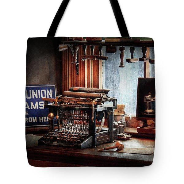 Writer - Typewriter - The Aspiring Writer Tote Bag by Mike Savad