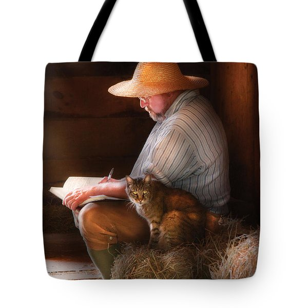 Writer - Writing In My Journal Tote Bag by Mike Savad