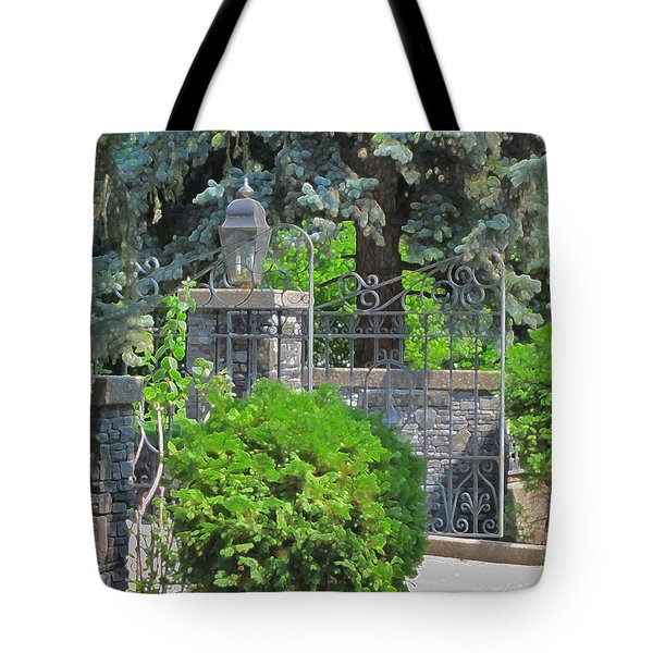 Wrought Iron Gate Tote Bag by Donald S Hall