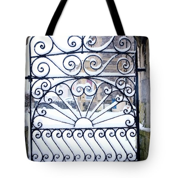 Wrought Iron Snow Tote Bag