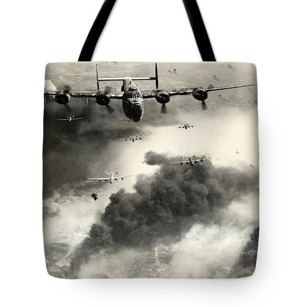 Wwii B-24 Liberators Over Ploesti Tote Bag