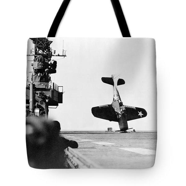 Wwii Crash Landing, 1943 Tote Bag