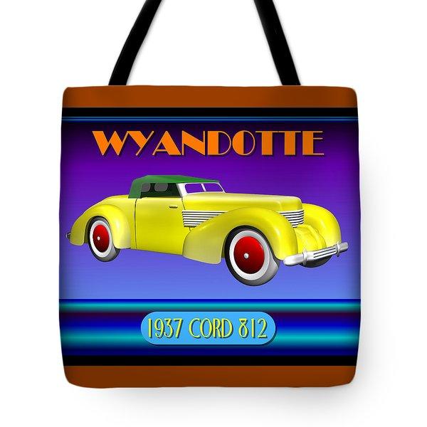 Tote Bag featuring the digital art Wyandotte 1937 Cord 812 by Stuart Swartz