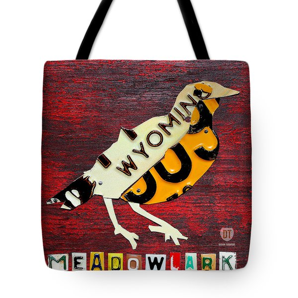 Wyoming Meadowlark Wild Bird Vintage Recycled License Plate Art Tote Bag