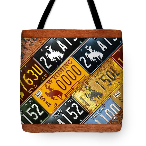 Wyoming State License Plate Map Tote Bag