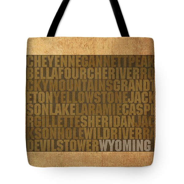 Wyoming Word Art State Map On Canvas Tote Bag