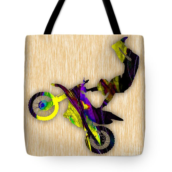 X Games Dirt Bike Stunt Tote Bag by Marvin Blaine