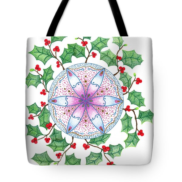 Tote Bag featuring the drawing X'mas Wreath by Keiko Katsuta