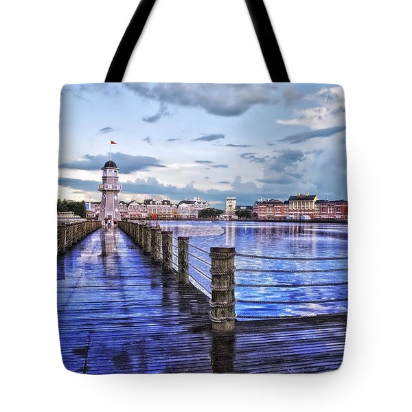 Yacht And Beach Club Lighthouse Tote Bag