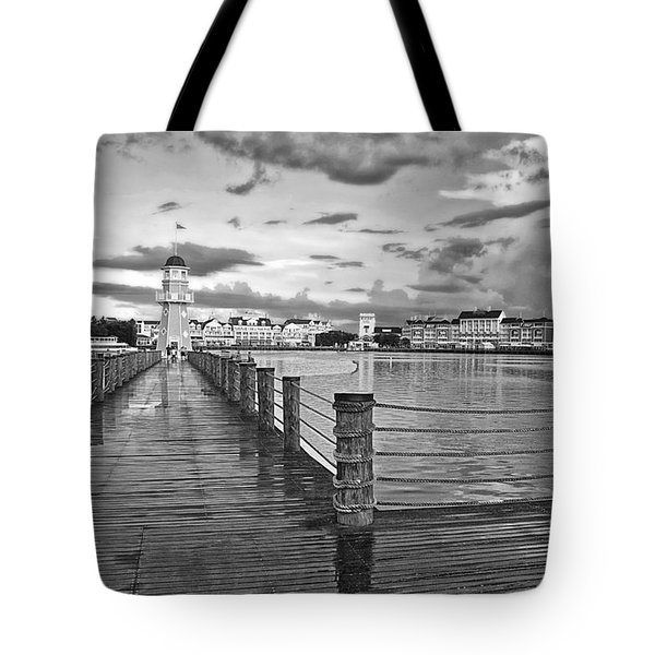 Yacht And Beach Lighthouse In Black And White Walt Disney World Tote Bag