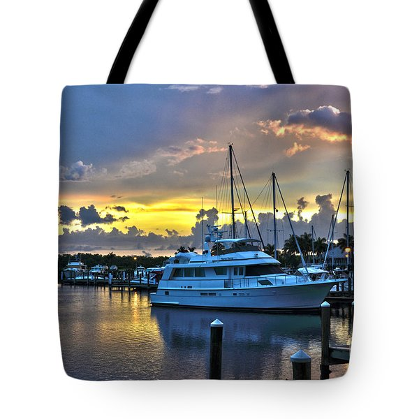 Yacht At Cape Coral Florida Marina And Resort 2 Tote Bag by Timothy Lowry
