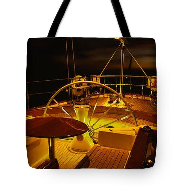 Yacht Cockpit At Night, Caribbean Tote Bag