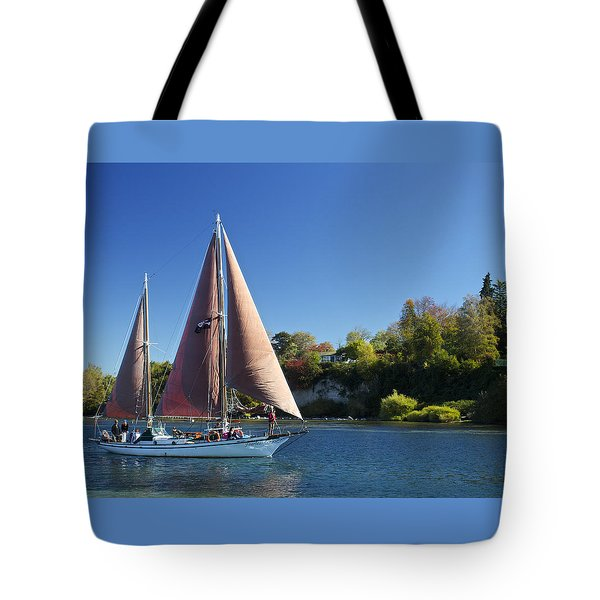 Yacht Fearless On Lake Taupo  Tote Bag by Venetia Featherstone-Witty