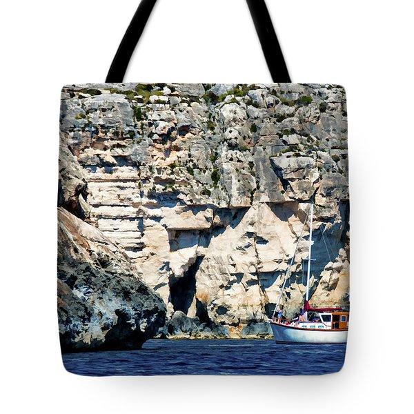 Yacht In Sea Near Popeye Village Tote Bag