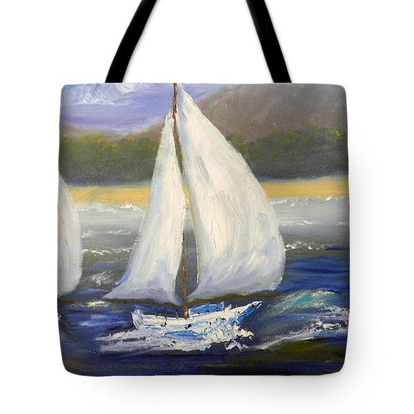 Yachts Sailing Off The Coast Tote Bag by Pamela  Meredith