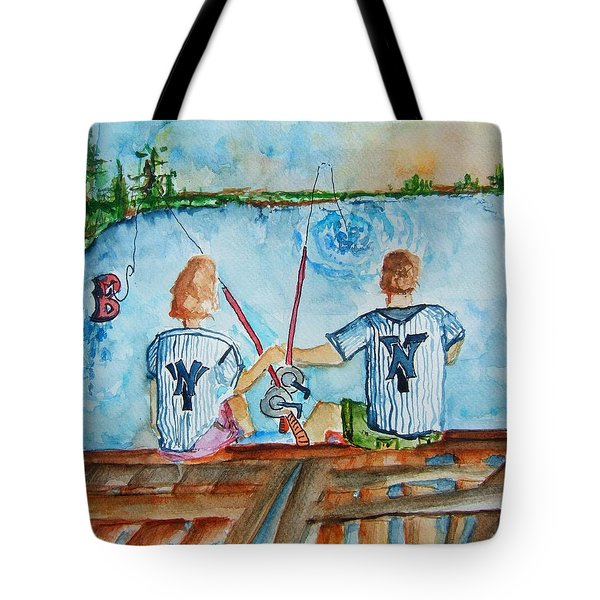 Yankee Fans Day Off Tote Bag by Elaine Duras