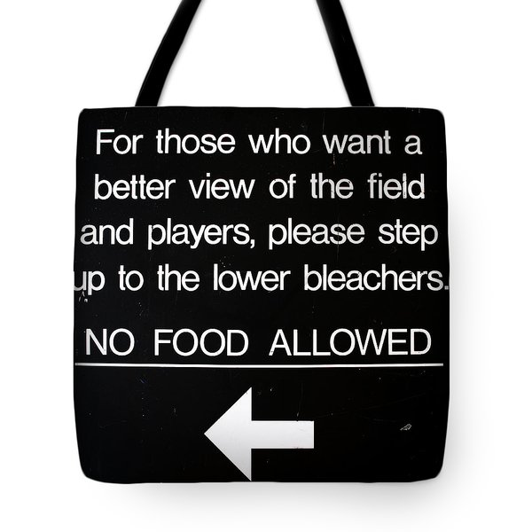 Yankee Stadium Lower Bleachers Sign Tote Bag by Bill Cannon