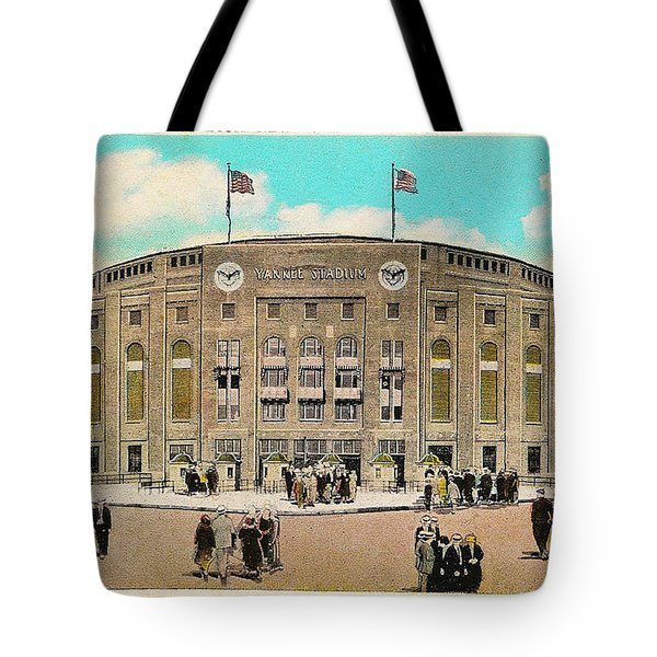 Yankee Stadium Postcard Tote Bag by Bill Cannon