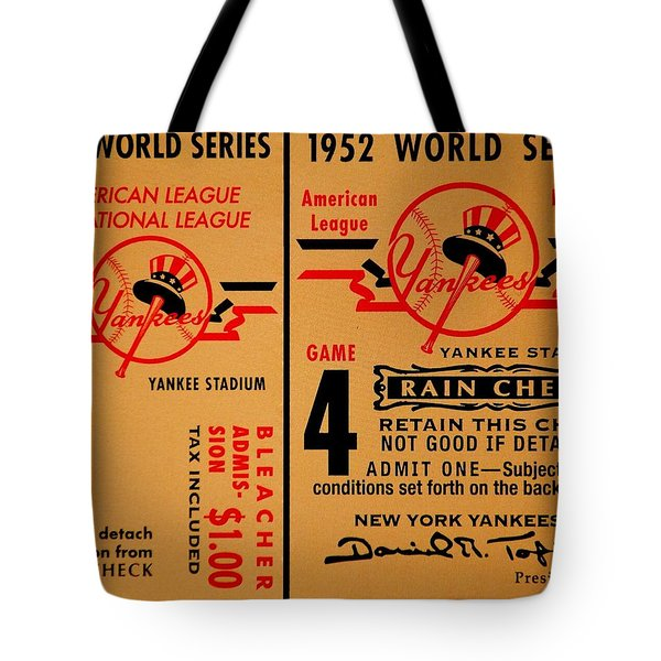 Yankees 4th Straight - Vintage Tote Bag by Benjamin Yeager