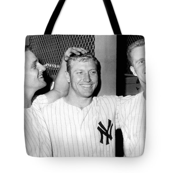 Yankees Celebrate Victory Tote Bag by Underwood Archives