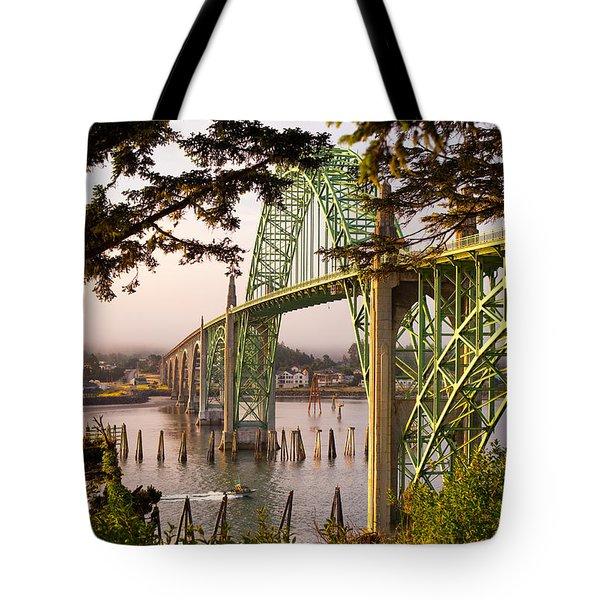 Yaquina Bay Bridge Morning Light Tote Bag by Darren  White