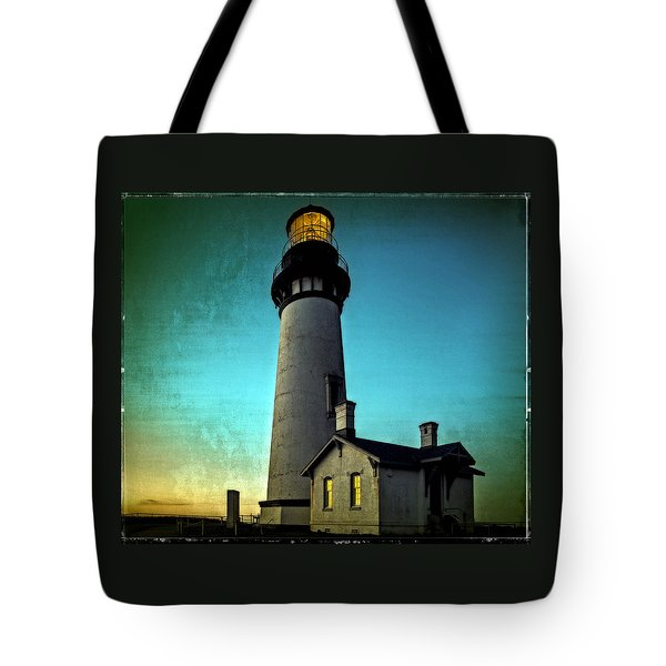 Yaquina Head Lighthouse At Sunset Tote Bag