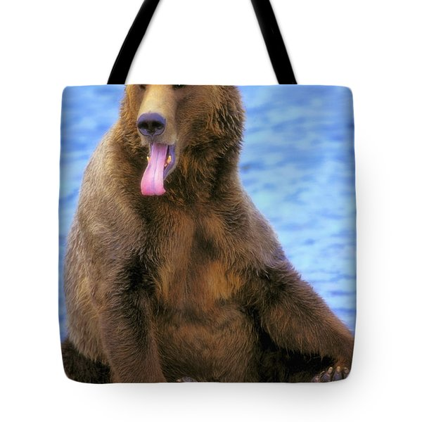 Yawning Grizzly Bear Sitting By Waters Tote Bag by Thomas Kitchin & Victoria Hurst