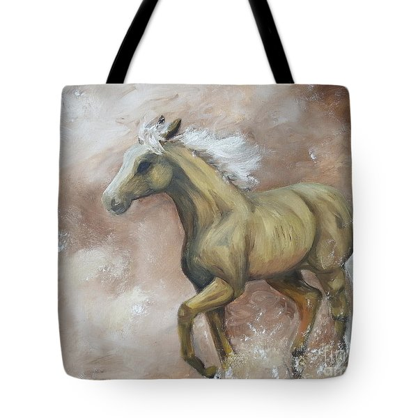 Yearling In Storm Tote Bag