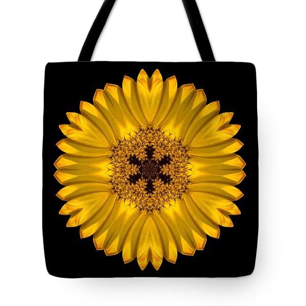 Yellow African Daisy Flower Mandala Tote Bag