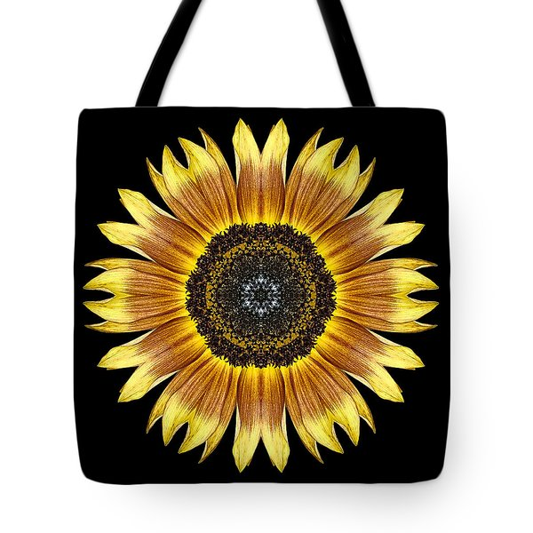 Yellow And Brown Sunflower Flower Mandala Tote Bag