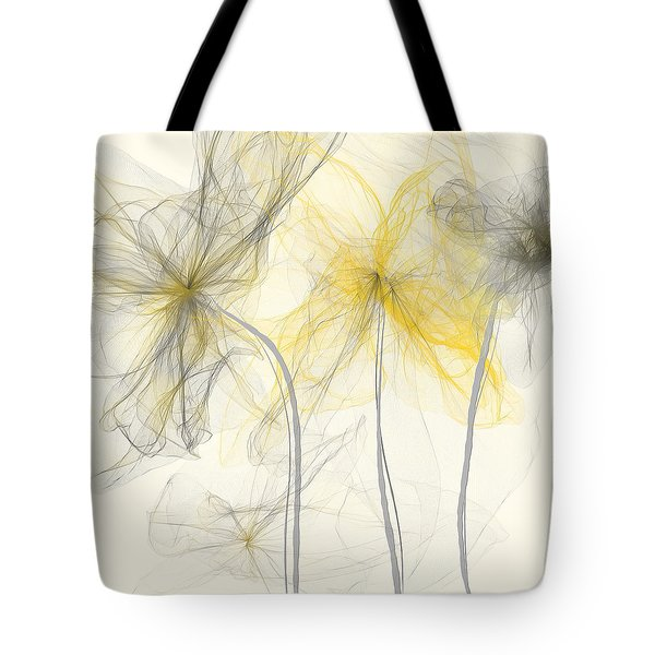 Yellow And Gray Flowers Impressionist Tote Bag