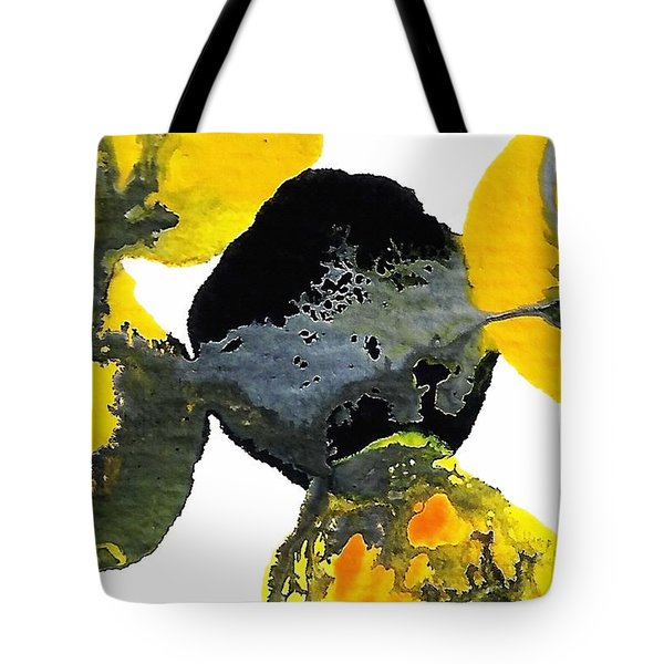 Yellow And Gray Interactions 4 Tote Bag by Amy Vangsgard