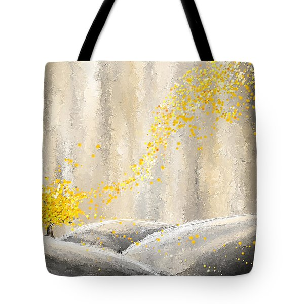 Yellow And Gray Landscape Tote Bag