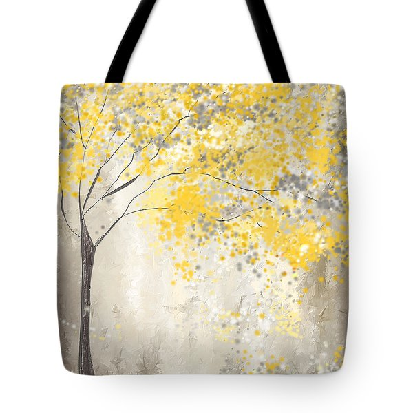 Yellow And Gray Tree Tote Bag