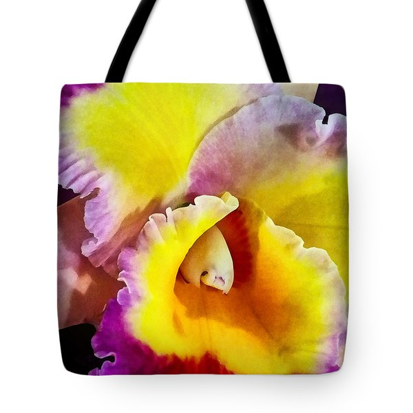 Yellow And Magenta Cattleya Orchid Tote Bag by Susan Savad
