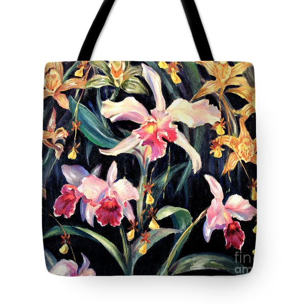 Yellow And Pink Orchids Tote Bag