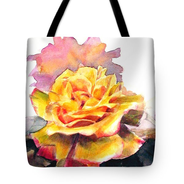 Tote Bag featuring the painting Yellow Rose Fringed In Red by Greta Corens