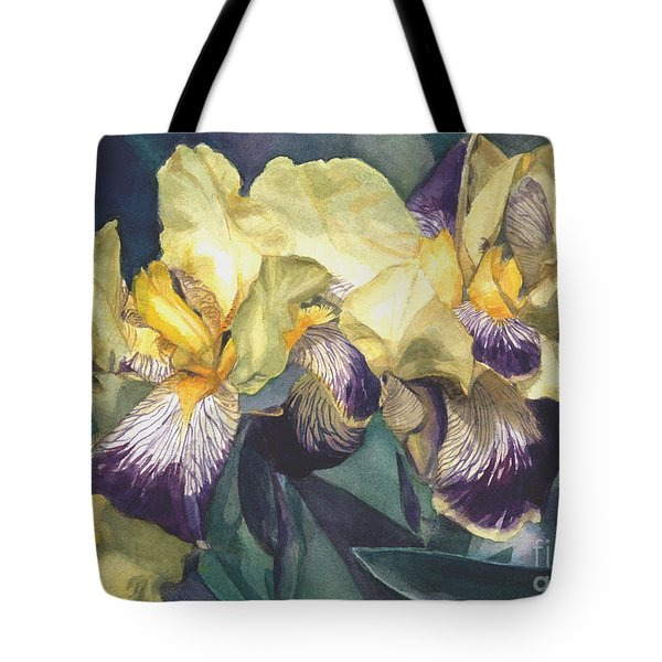 Watercolor Of A Tall Bearded Iris Painted In Yellow With Purple Veins Tote Bag