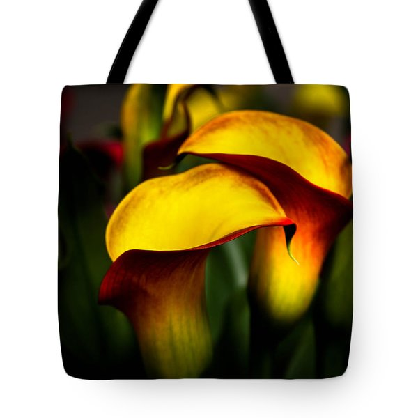 Yellow And Red Calla Lily Tote Bag by Menachem Ganon