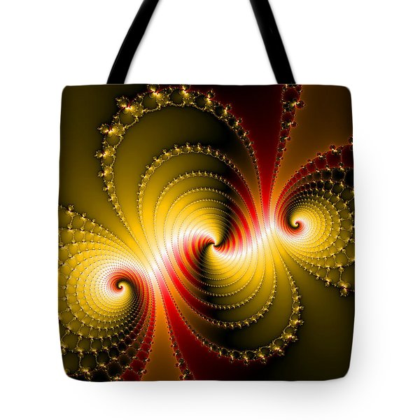 Yellow And Red Metal Fractal Art Tote Bag by Matthias Hauser
