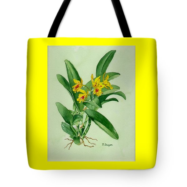 Yellow And Red Orchid Tote Bag