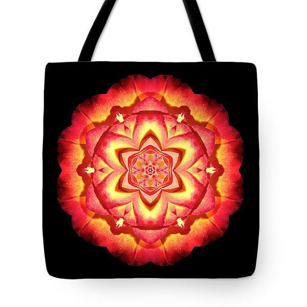 Yellow And Red Rose II Flower Mandalaflower Mandala Tote Bag