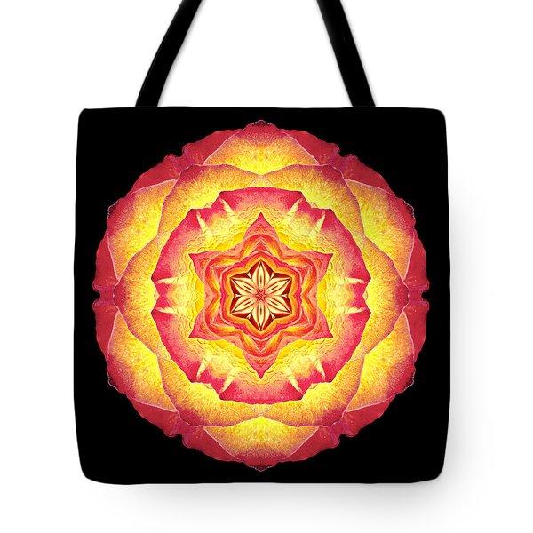 Yellow And Red Rose IIi Flower Mandala Tote Bag