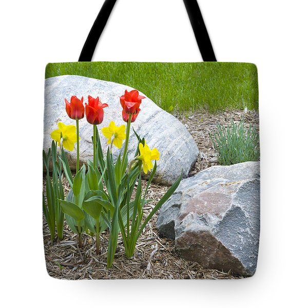 Yellow And Red Tulips With Two Rocks Tote Bag